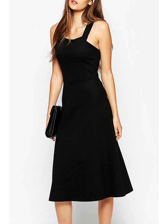 chic Fit and Flare Black Midi Dress - BLACK M