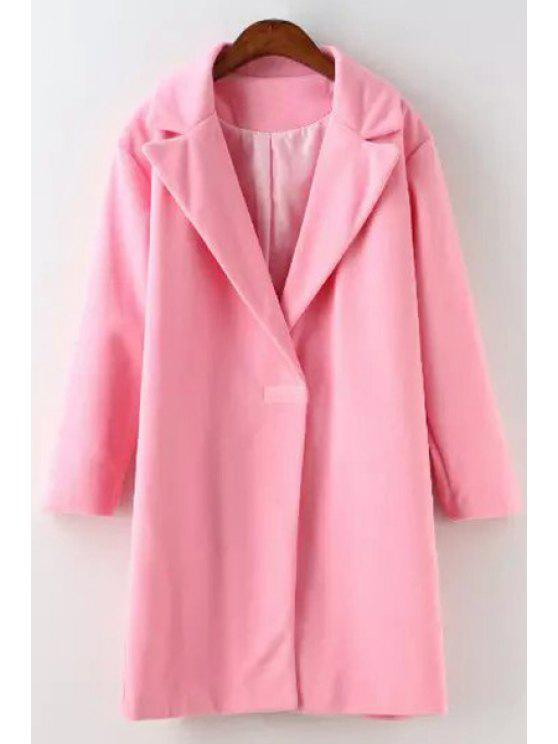 chic Pink Lapel Neck Long Sleeves Coat - PINK S