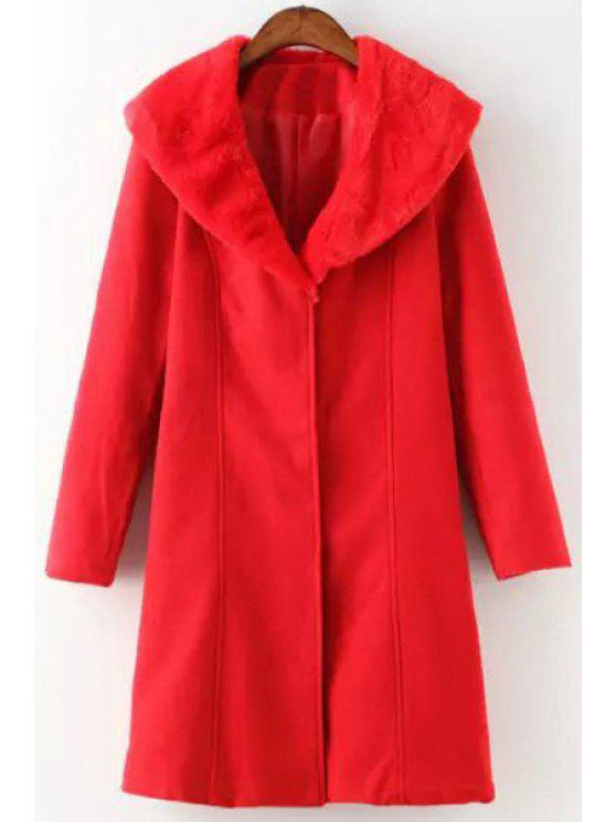affordable Red Turn Down Collar Long Sleeve Coat - RED S