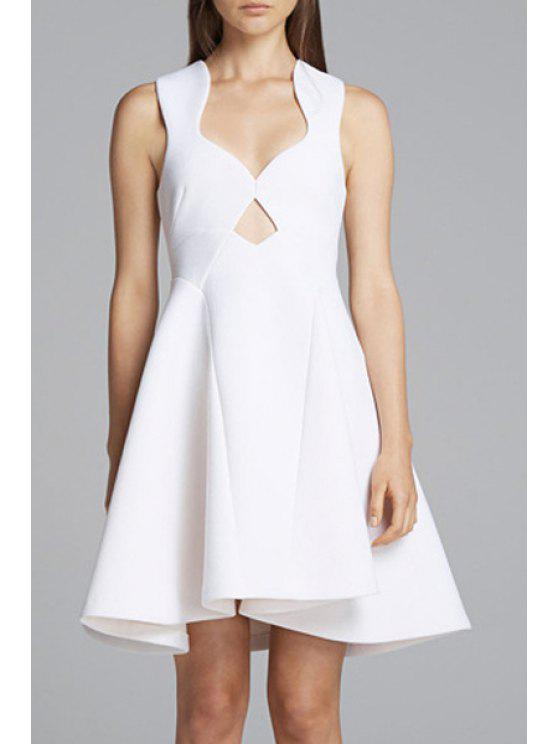 ladies V Neck Hollow Out Backless Sleeveless Dress - WHITE S