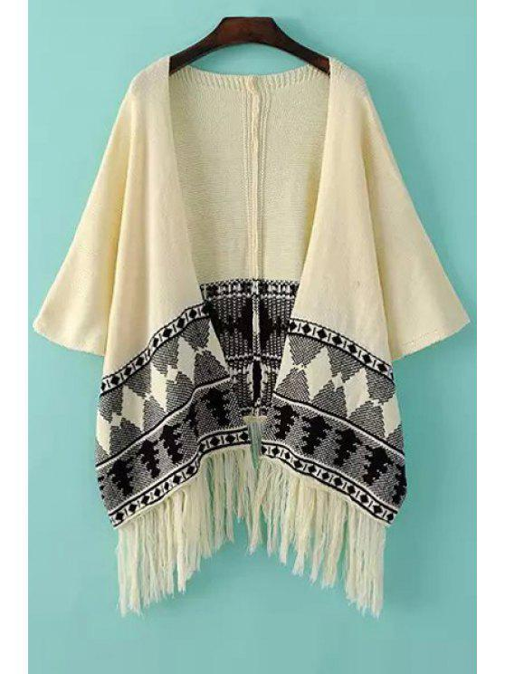latest Black Argyle Pattern Long Sleeve Cardigan - WHITE ONE SIZE(FIT SIZE XS TO M)