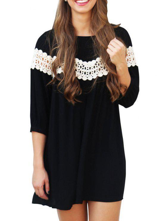 hot 3/4 Sleeve Lace Spliced Loose Dress - BLACK S
