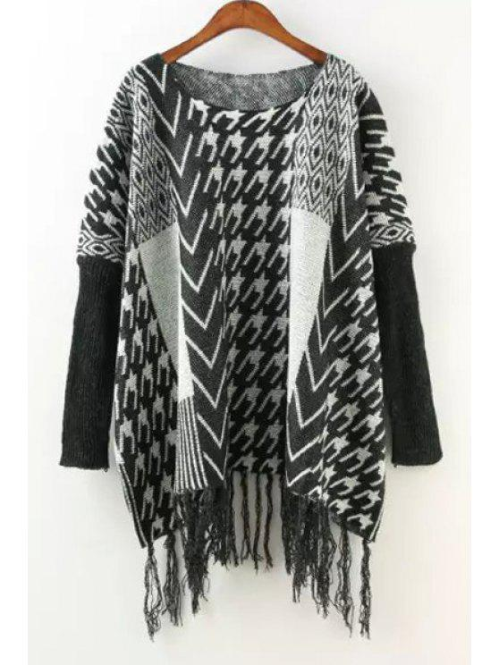 trendy Houndstooth Pattern Long Sleeve Sweater - WHITE AND BLACK ONE SIZE(FIT SIZE XS TO M)