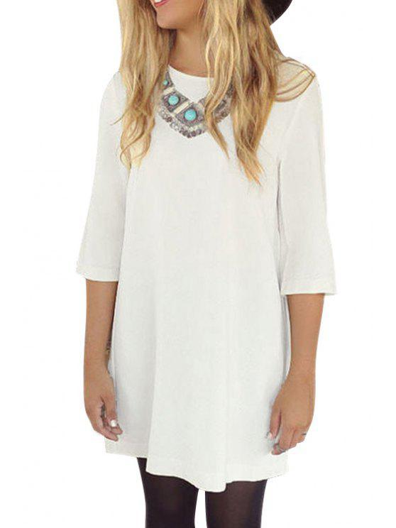 women 3/4 Sleeve Pleated Chiffon Dress - WHITE S