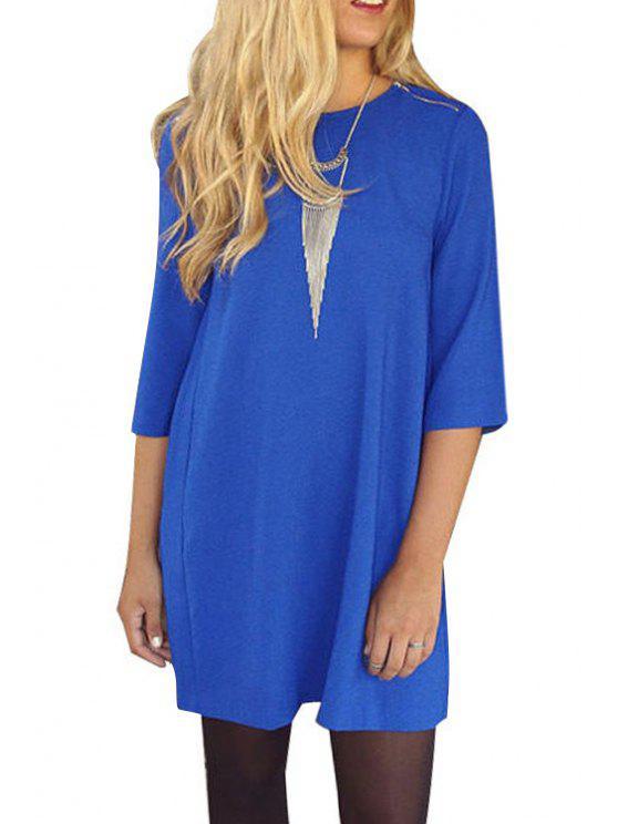 latest 3/4 Sleeve Pleated Chiffon Dress - BLUE XL