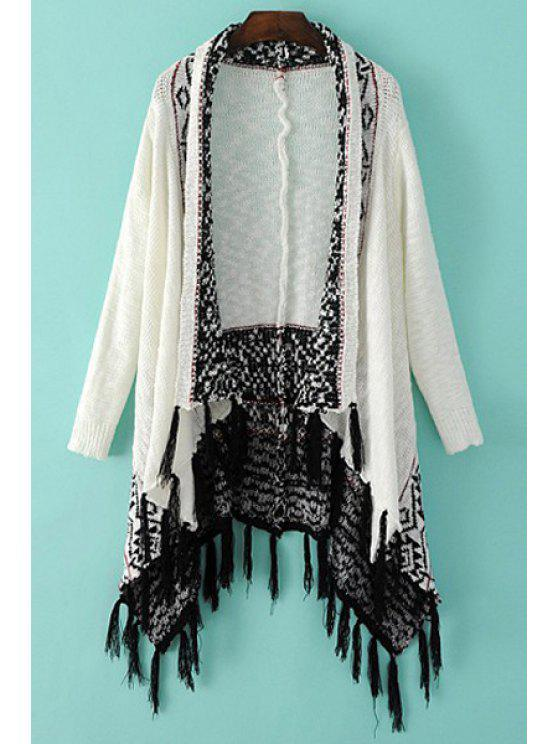 fashion Turn-Down Collar Argyle Pattern Fringe Cardigan - WHITE AND BLACK ONE SIZE(FIT SIZE XS TO M)