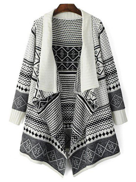 sale Black White Argyle Pattern Long Sleeve Cardigan - WHITE AND BLACK ONE SIZE(FIT SIZE XS TO M)