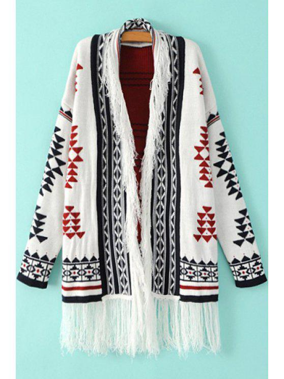affordable Black Red Triangle Pattern Long Sleeve Cardigan - WHITE AND BLACK ONE SIZE(FIT SIZE XS TO M)