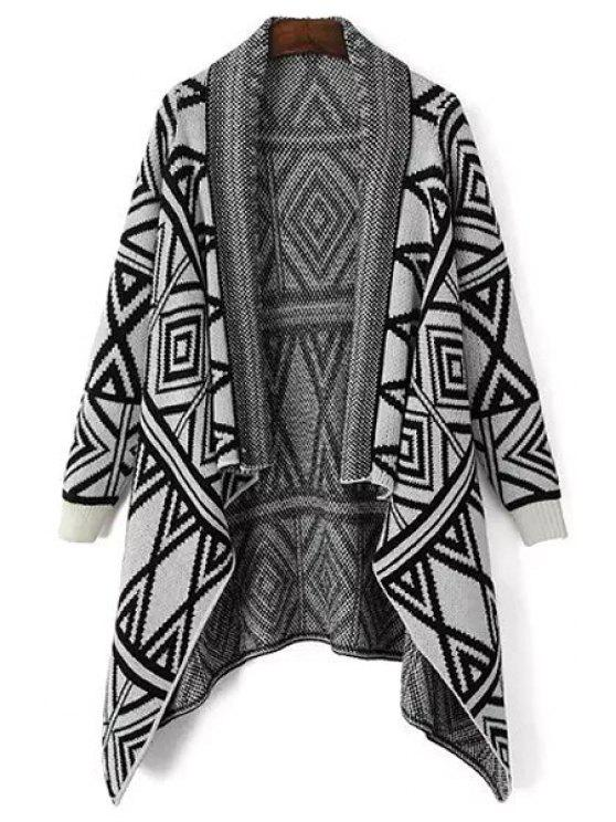 buy Shawl Collar Black Argyle Pattern Cardigan - WHITE AND BLACK ONE SIZE(FIT SIZE XS TO M)