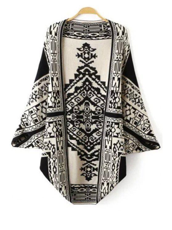 women's Black White Totem Pattern Long Sleeve Cardigan - BLACK S