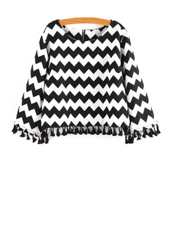 chic Black White Zig Zag Long Sleeve Blouse - WHITE AND BLACK ONE SIZE(FIT SIZE XS TO M)