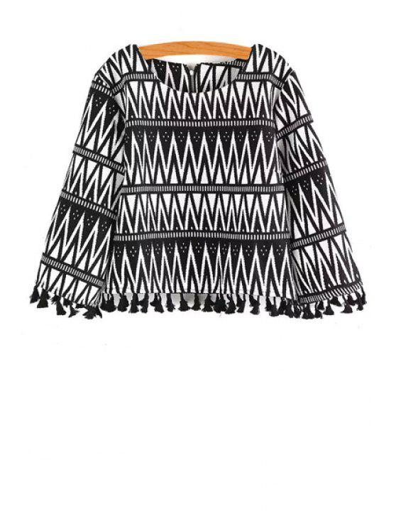 fancy Scoop Neck Black White Stripe Long Sleeve Blouse - WHITE AND BLACK ONE SIZE(FIT SIZE XS TO M)