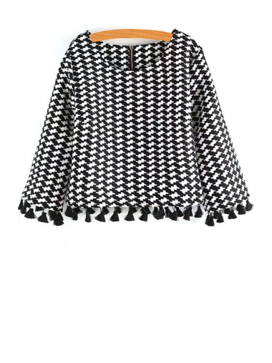 unique Scoop Neck Houndstooth Pattern Long Sleeve Blouse - WHITE AND BLACK ONE SIZE(FIT SIZE XS TO M)