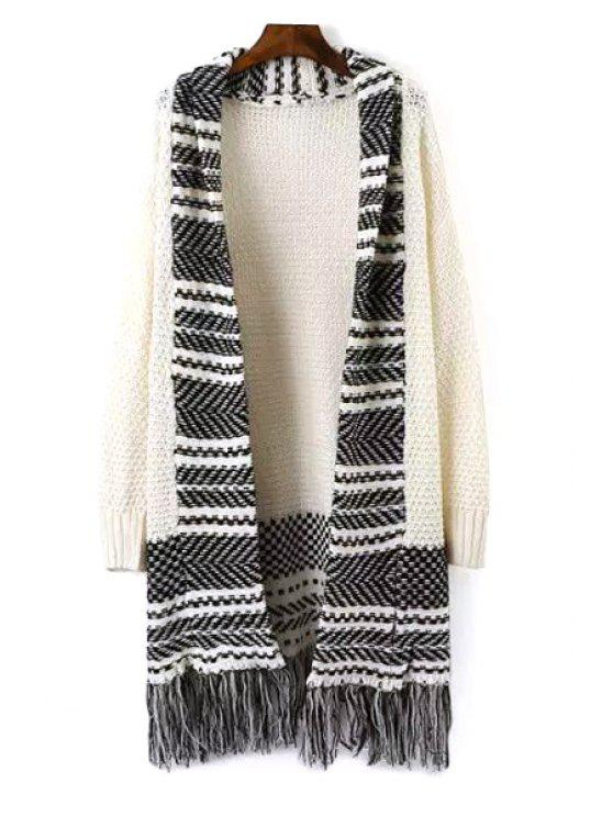 outfit Turn-Down Collar Stripe Fringe Long Sleeve Cardigan - WHITE ONE SIZE(FIT SIZE XS TO M)