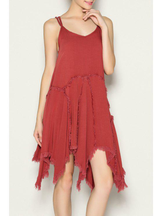outfits Spaghetti Strap A-Line Frayed Dress - DARKSALMON M