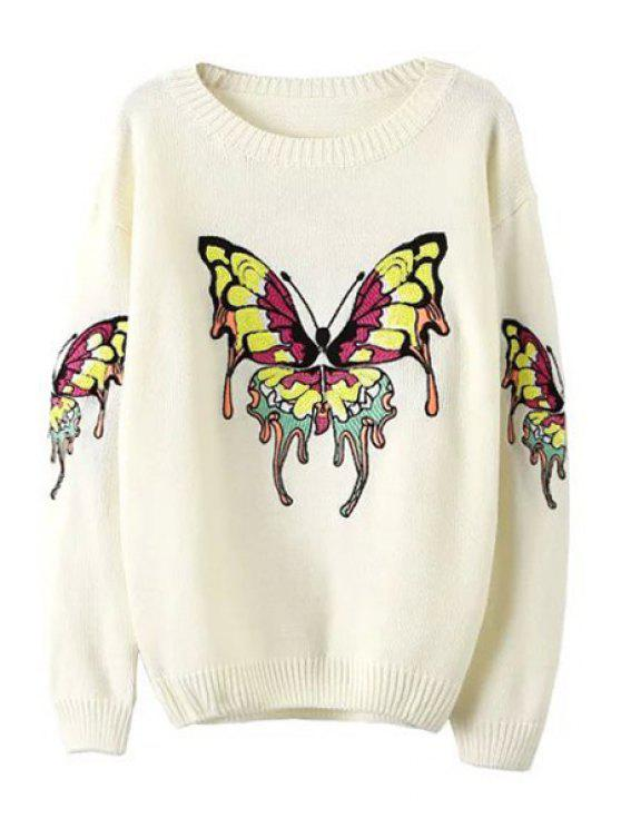 chic Butterfly Pattern Sequins Long Sleeve Sweater - WHITE ONE SIZE(FIT SIZE XS TO M)