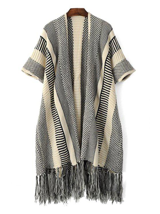 womens Fringe Color Block Short Sleeve Cardigan - BLACK ONE SIZE(FIT SIZE XS TO M)