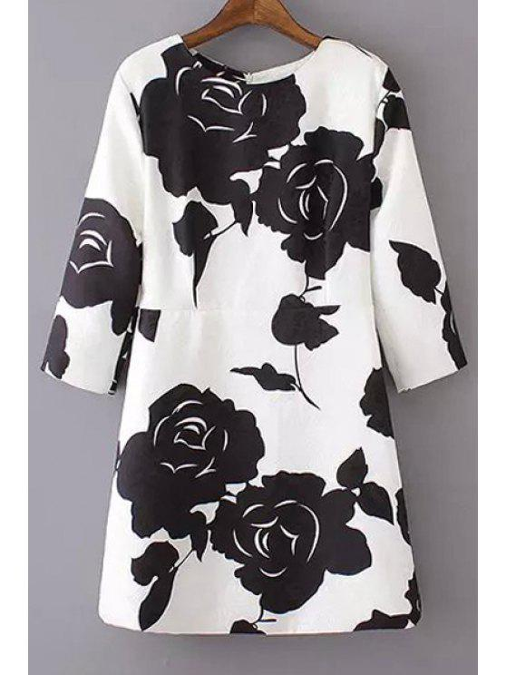 shop Black Floral Print 3/4 Sleeve Dress - WHITE S
