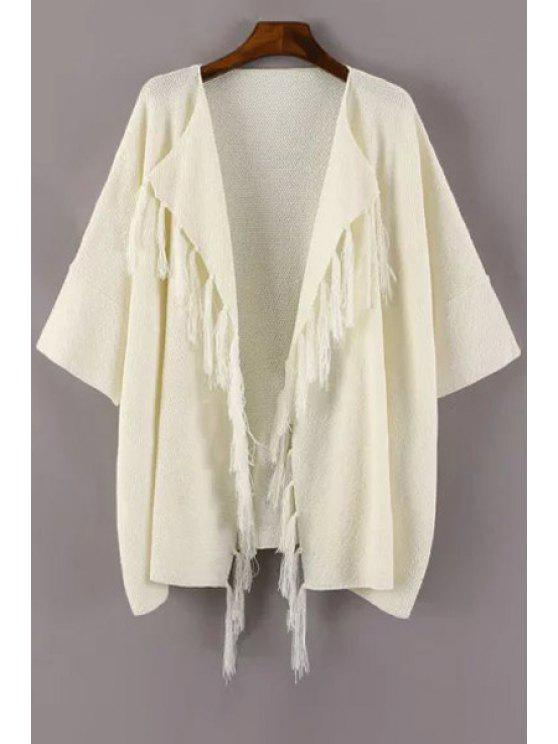 women Fringe Solid Color Half Sleeve Cardigan - WHITE ONE SIZE(FIT SIZE XS TO M)