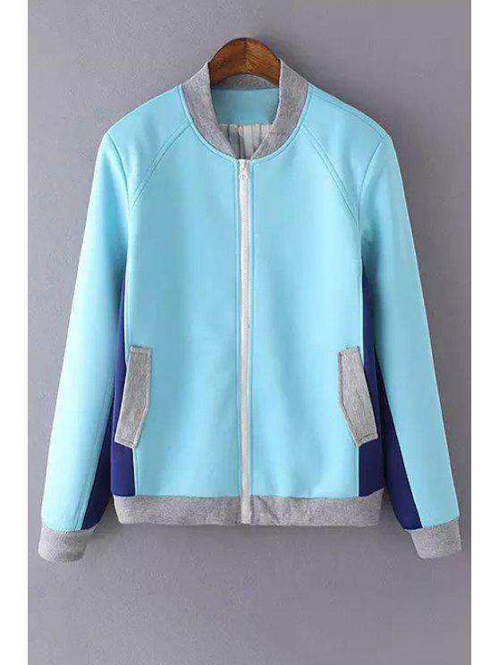 womens Stand Neck Color Block Baseball Jacket - LIGHT BLUE M