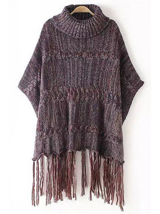 lady Turtle Neck Color Mixed Fringe Half Sleeve Sweater - RED ONE SIZE(FIT SIZE XS TO M)