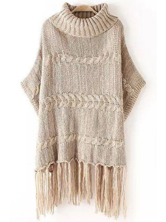 ladies Turtle Neck Color Mixed Fringe Half Sleeve Sweater - KHAKI ONE SIZE(FIT SIZE XS TO M)