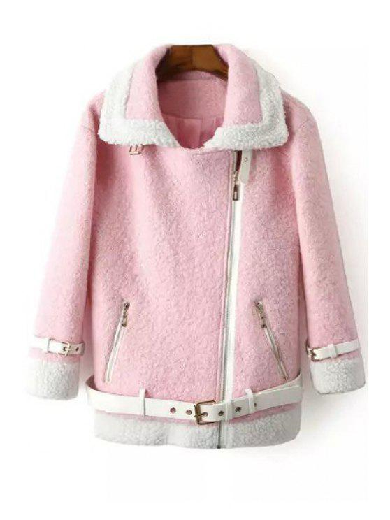 sale Worsted Turn Down Collar Long Sleeve Coat - PINK S