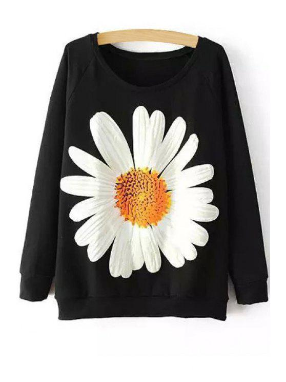 hot Sunflower Print Long Sleeve Sweatshirt - BLACK ONE SIZE(FIT SIZE XS TO M)