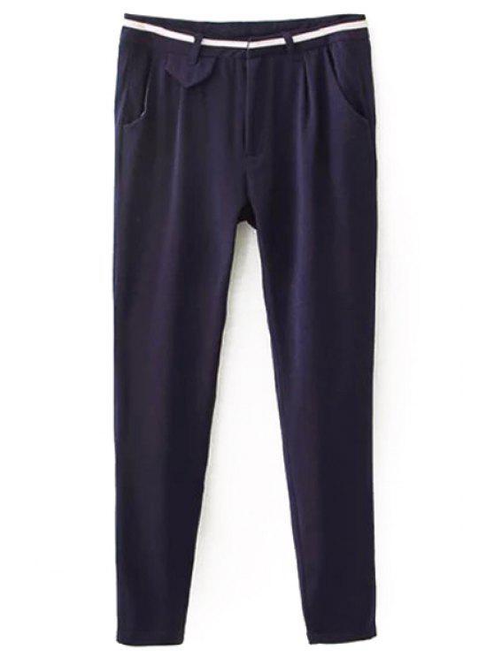 fashion Casual Stylish Solid Color Women's Pants - PURPLISH BLUE S