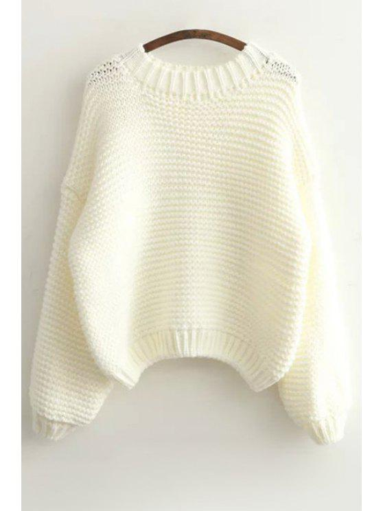 hot Pure Color Long Sleeve Sweater - WHITE ONE SIZE(FIT SIZE XS TO M)