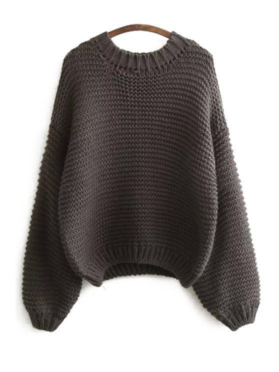Suéter de manga larga de color puro - Gris Oscuro Un tamaño(Montar tam