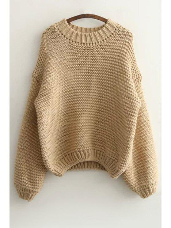 Suéter de manga larga de color puro - Caqui Un tamaño(Montar tam