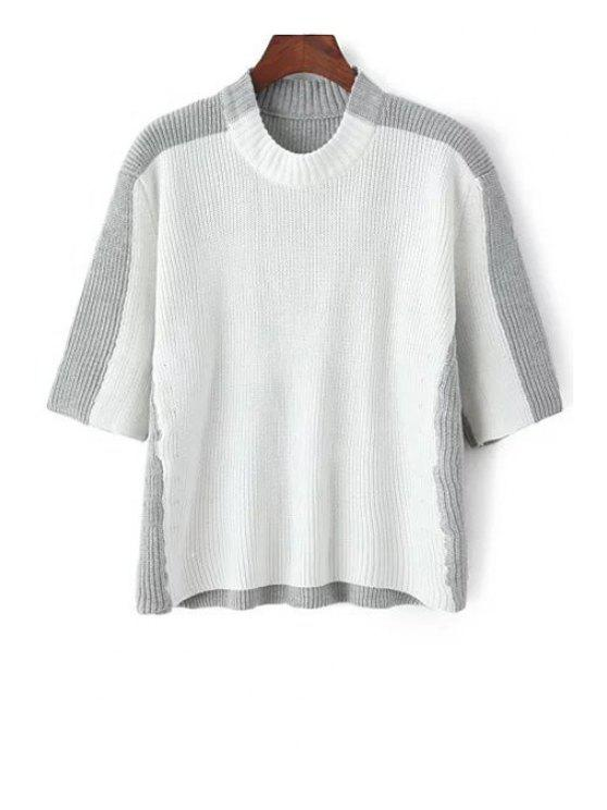 Round Neck White Grey Splicing Half Sleeve Sweater - Gris et Blanc Taille Unique(S'adap