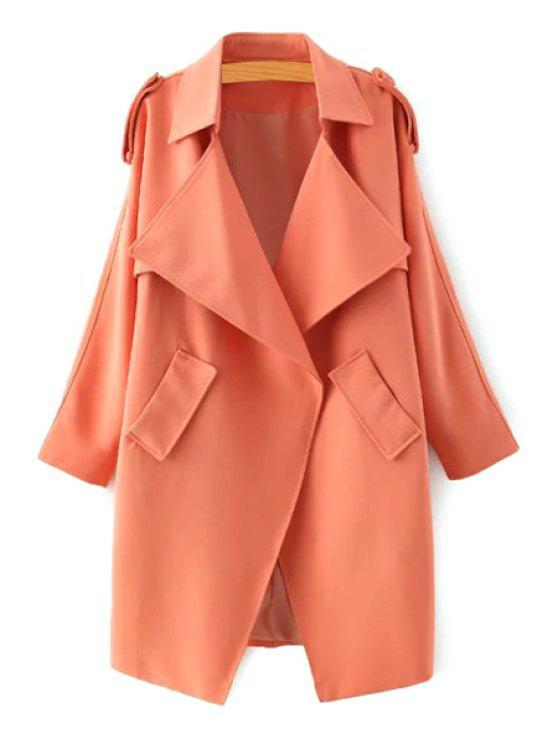 fashion Turn Down Collar Long Sleeve Epaulet Trench - ORANGE S
