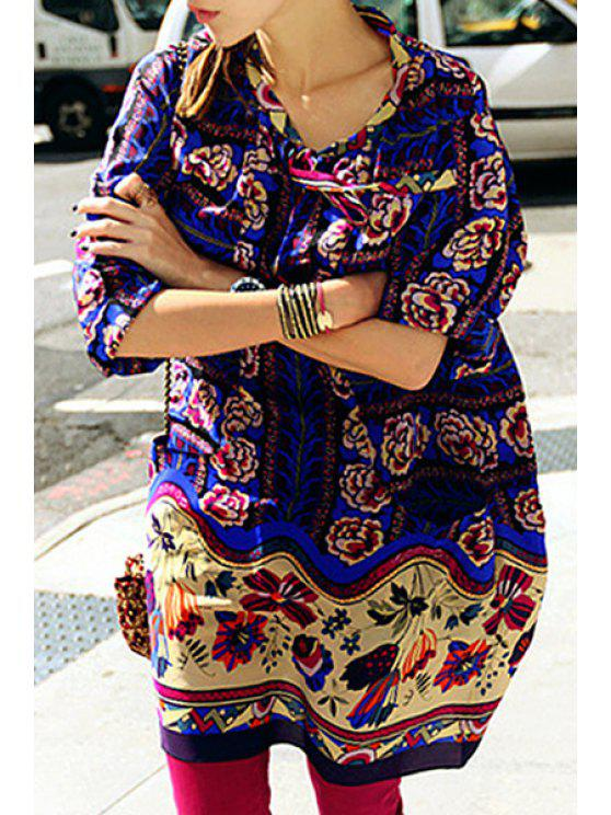 fashion 3/4 Sleeve Ethnic Pattern Loose Dress - BLUE S