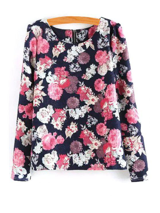 sale Scoop Neck Floral Printed Long Sleeve T-Shirt - RED ONE SIZE(FIT SIZE XS TO M)