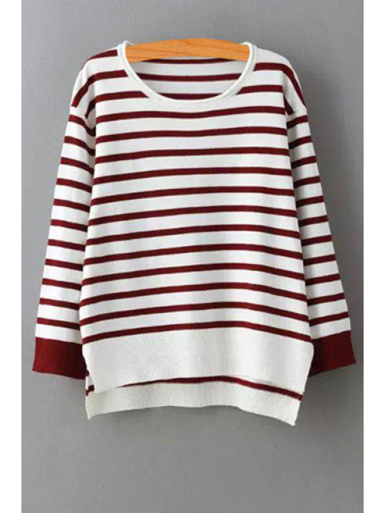 shops Stripes Long Sleeve Pullover Sweater - RED ONE SIZE(FIT SIZE XS TO M)