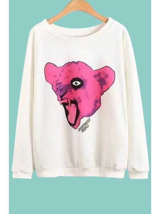 online Animal Print Round Collar Long Sleeves Sweatshirt - WHITE L