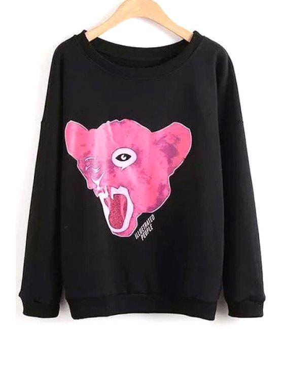 ladies Animal Print Round Collar Long Sleeves Sweatshirt - BLACK M