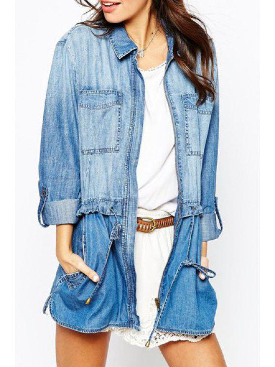 outfit Blue Denim Turn Down Collar Long Sleeve Coat - BLUE S