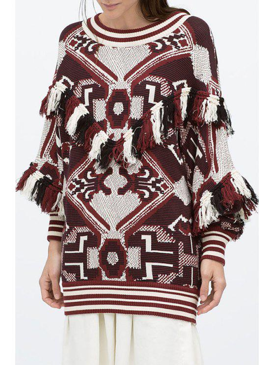 outfit Batwing Sleeve Tassels Jacquard Jumper - RED ONE SIZE(FIT SIZE XS TO M)