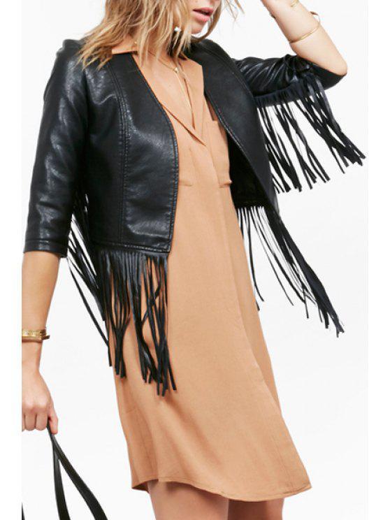 buy Glamorous Vegan Leather Fringe Jacket - BLACK S