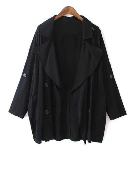 hot Solid Color Loose-Fitting Trench Coat - BLACK S