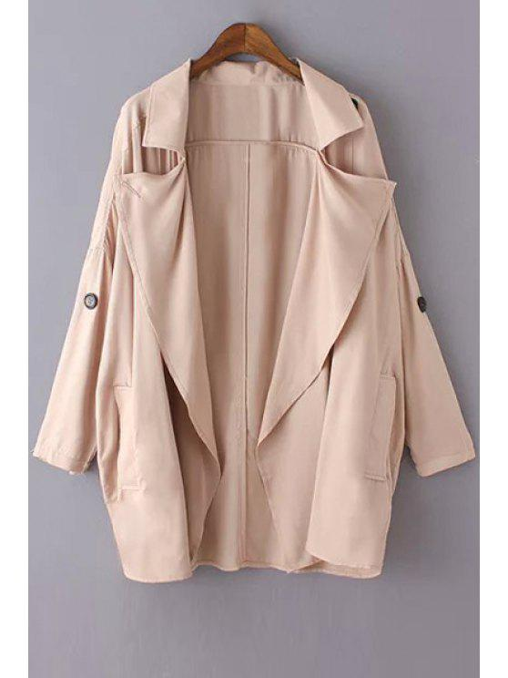 sale Solid Color Loose-Fitting Trench Coat - PINK S