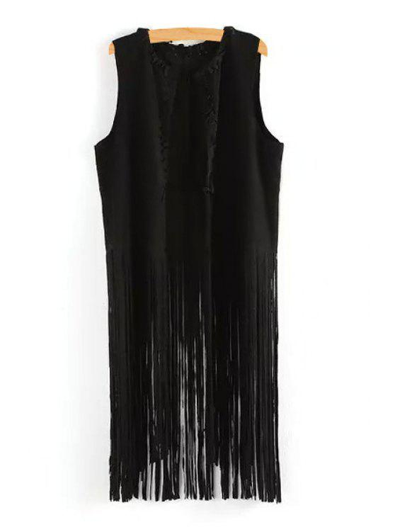 latest Solid Color Tassels Waistcoat - BLACK M