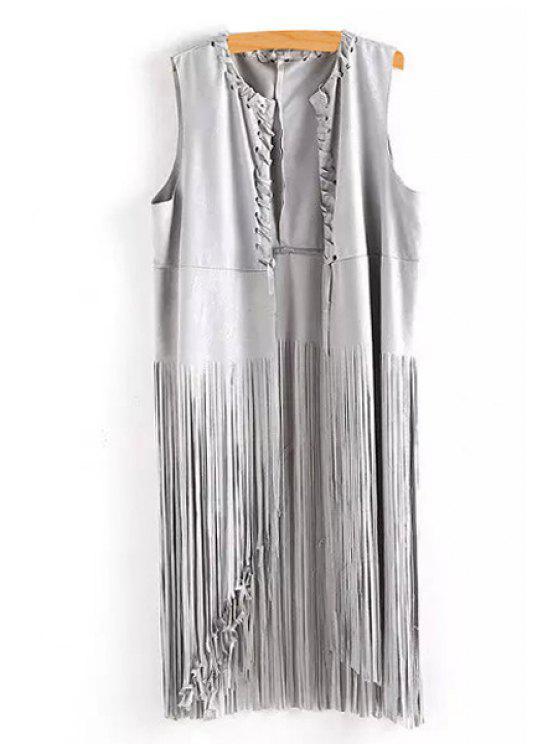 fashion Solid Color Tassels Waistcoat - GRAY M