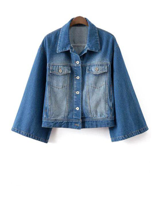 affordable Denim Turn Down Collar Long Sleeves Coat - BLUE L