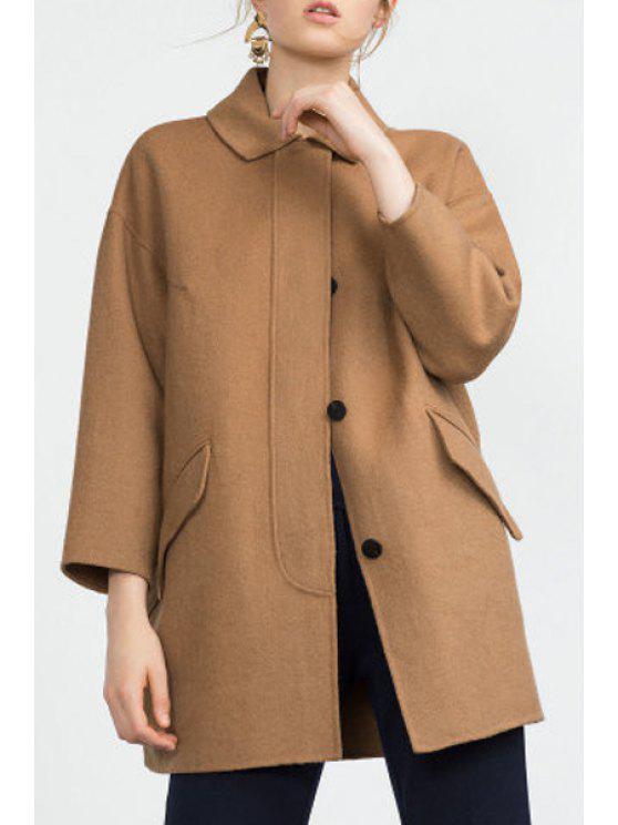 unique 3/4 Sleeve Single-Breasted Coat - KHAKI S