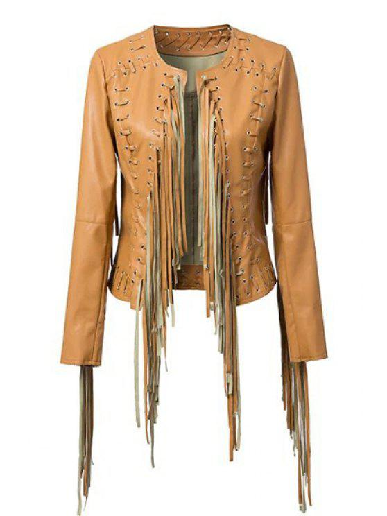 womens PU Leather Long Sleeve Tassels Coat - BROWN M