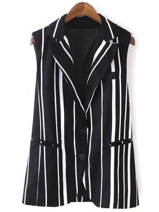 new Lapel Vertical Stripes Waistcoat - WHITE AND BLACK S